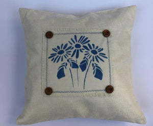 White and Indigo Throw Pillows