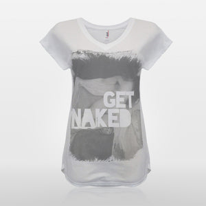 JoshyTees Custom Print 359 Women's Get Naked Vintage T-Shirt 1