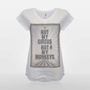 JoshyTees Custom Print 372 Women's Not My Circus Not My Monkeys Nie Moj Cyrk Nie Moje Malpy T-Shirt 1