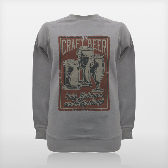 JoshyTees Custom Print 92 Men's Craft Beer Raglan Sweat Silver Melange 1