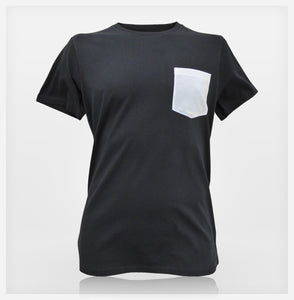 JoshyTees Custom Print - Mens Pocket Tee - Black / White - View 1