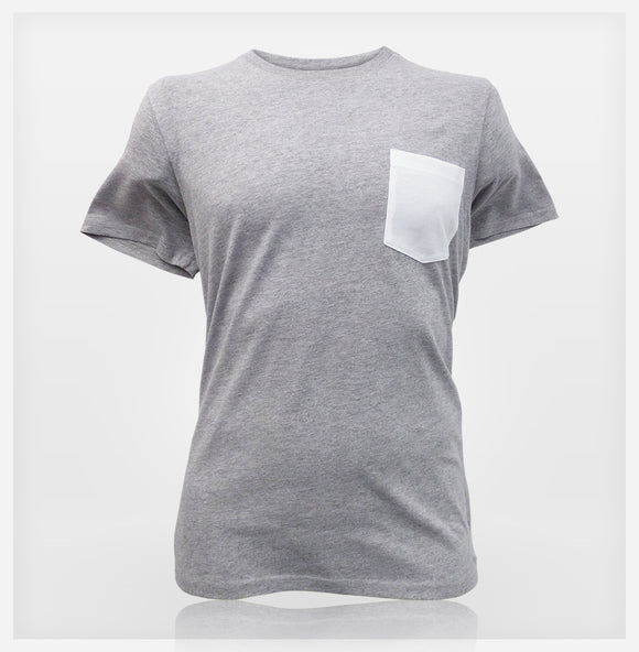 Mens Pocket Tee - Silver / White