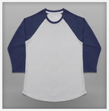 JoshyTees Custom Print - Women's Baseball Tee - White / Indigo Blue - View 2