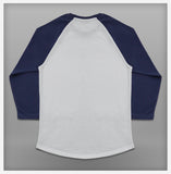 JoshyTees Custom Print - Women's Baseball Tee - White / Indigo Blue - View 3