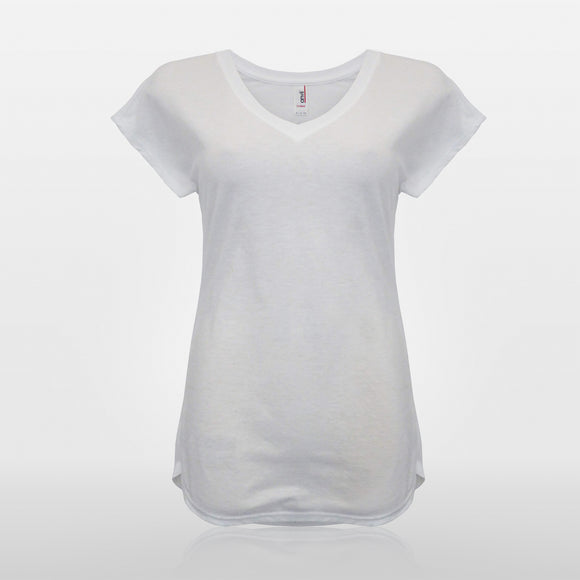 Womens Tri-Blend V-Neck Tee - White