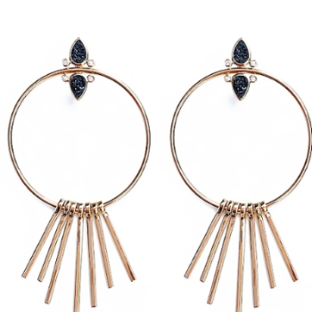 Gemstone Fringe Hoops