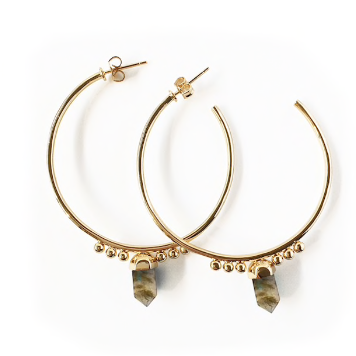 Moongazer Gemstone Point Hoops