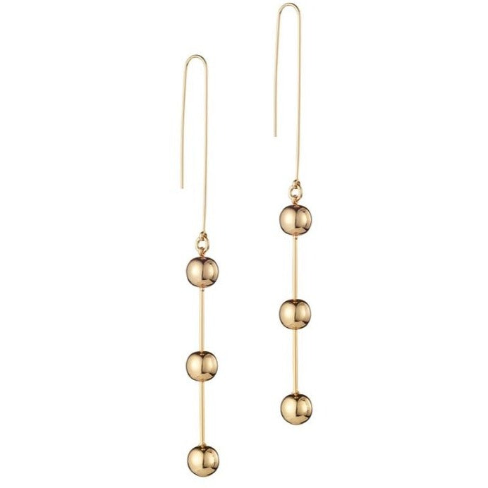 Sleek Triple Drop Ball Earrings