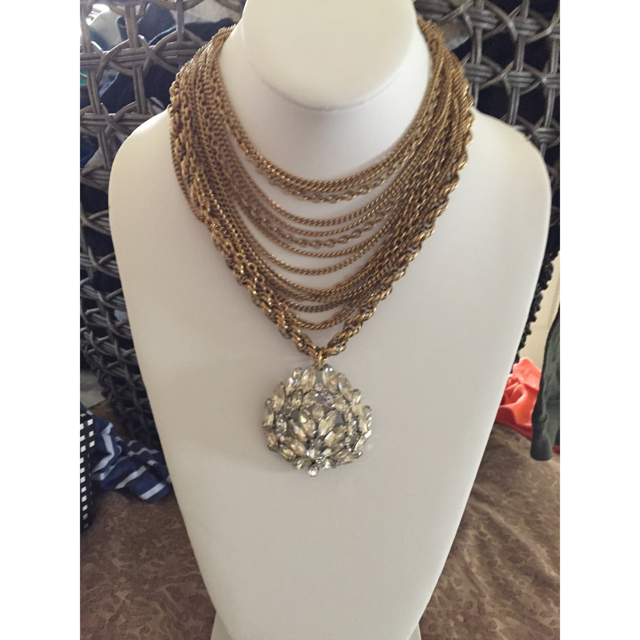 Vintage Crystal and Gold Chain