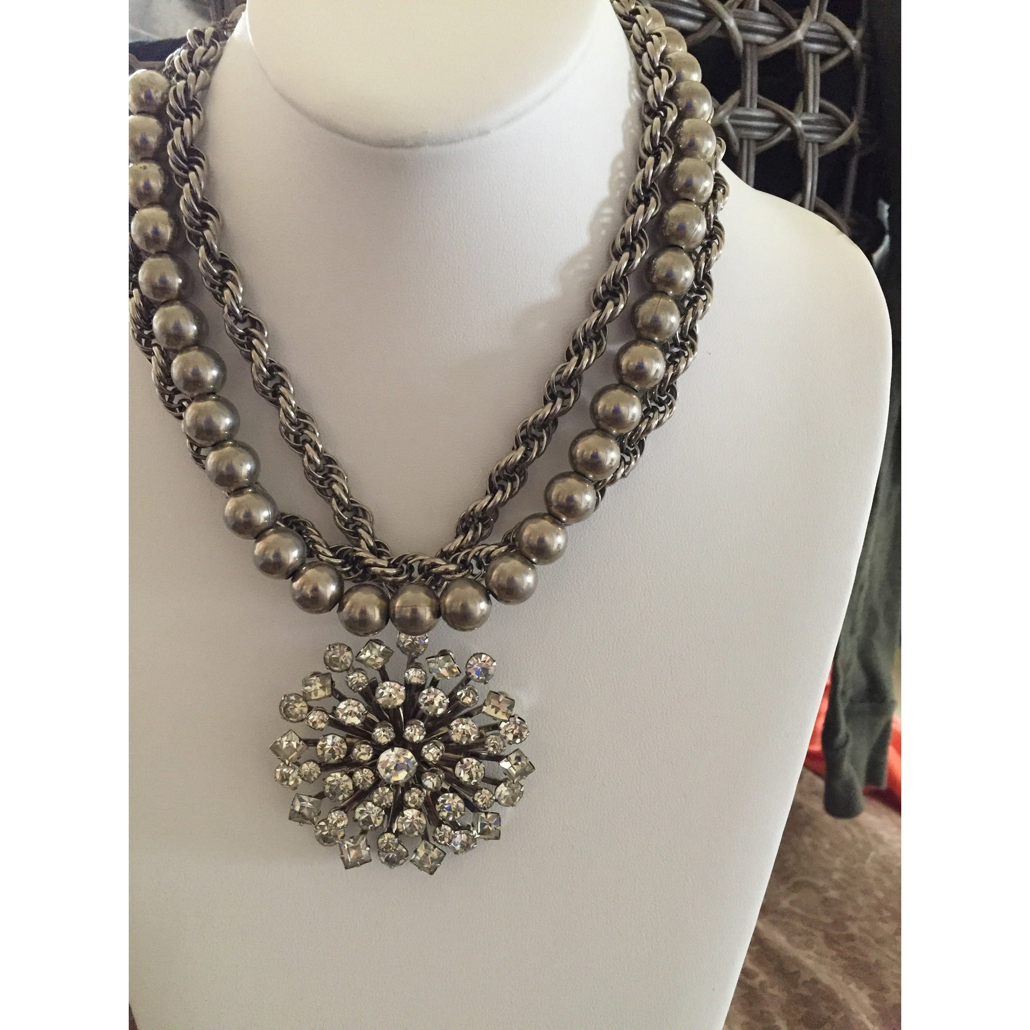 Vintage Crystal and silver Chain