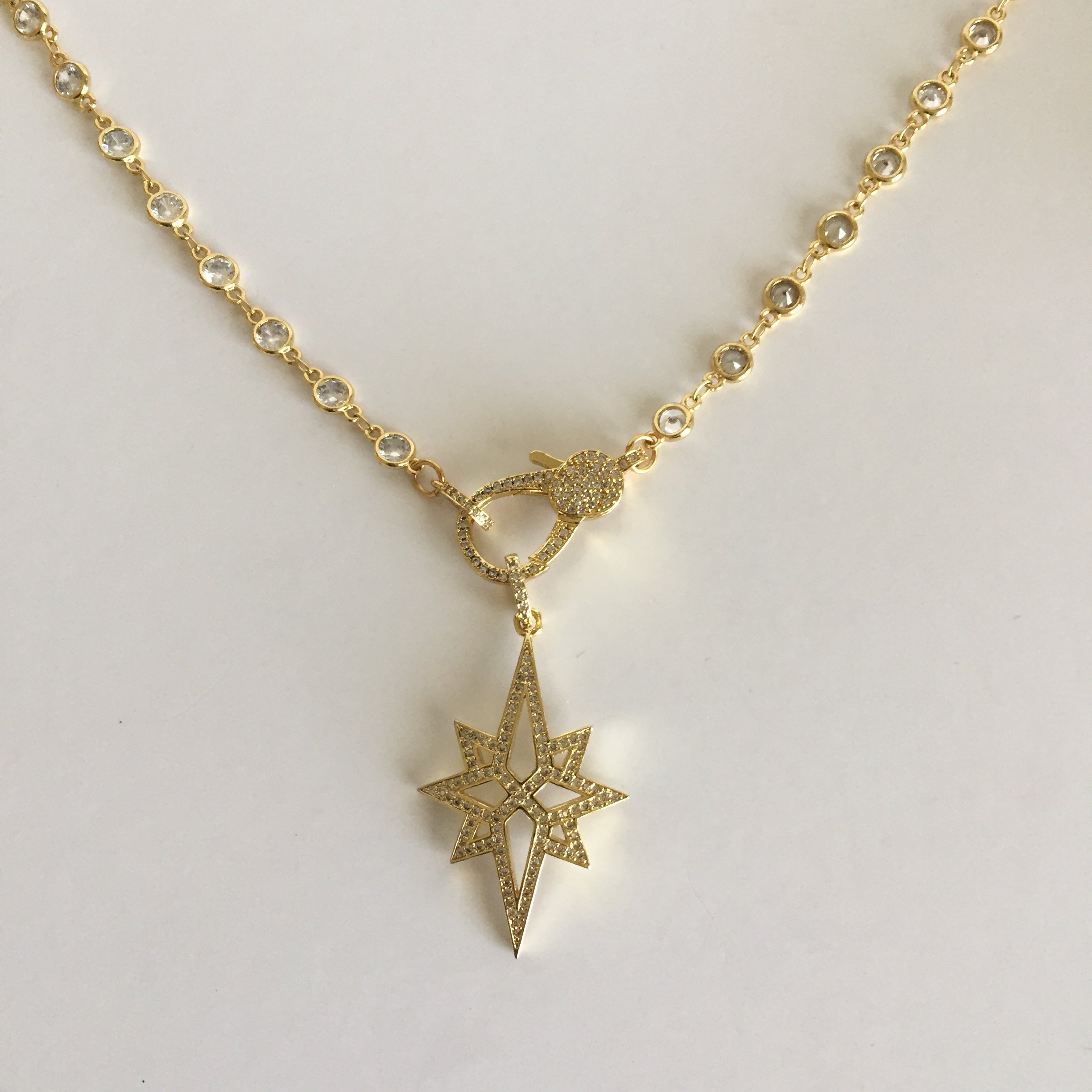 Pave Gold Star Necklace