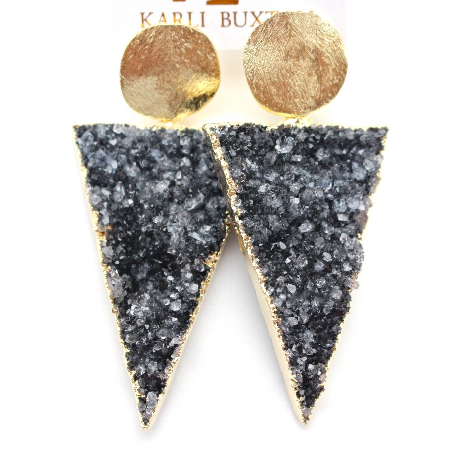 Triangle Druzy Drop Earrings