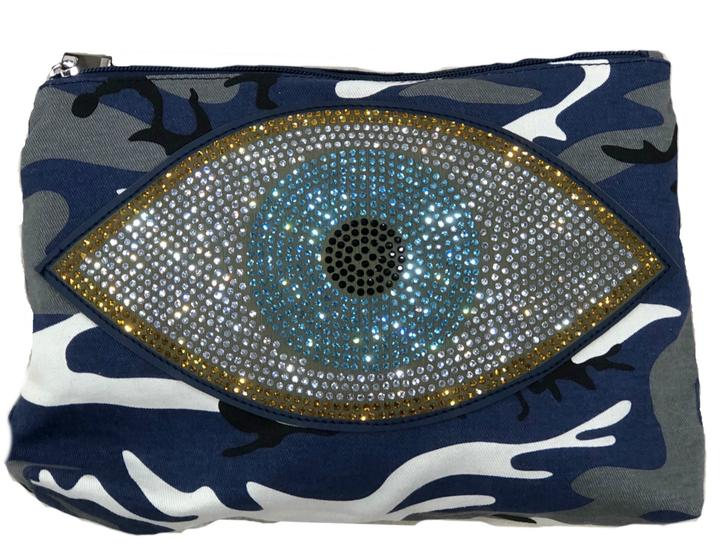 Blue Camo Poucn with Evil Eye