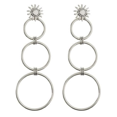Sunburst Statement Hoops - Silver