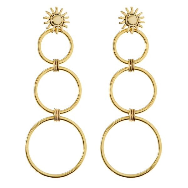 Sunburst Statement Hoops - Gold