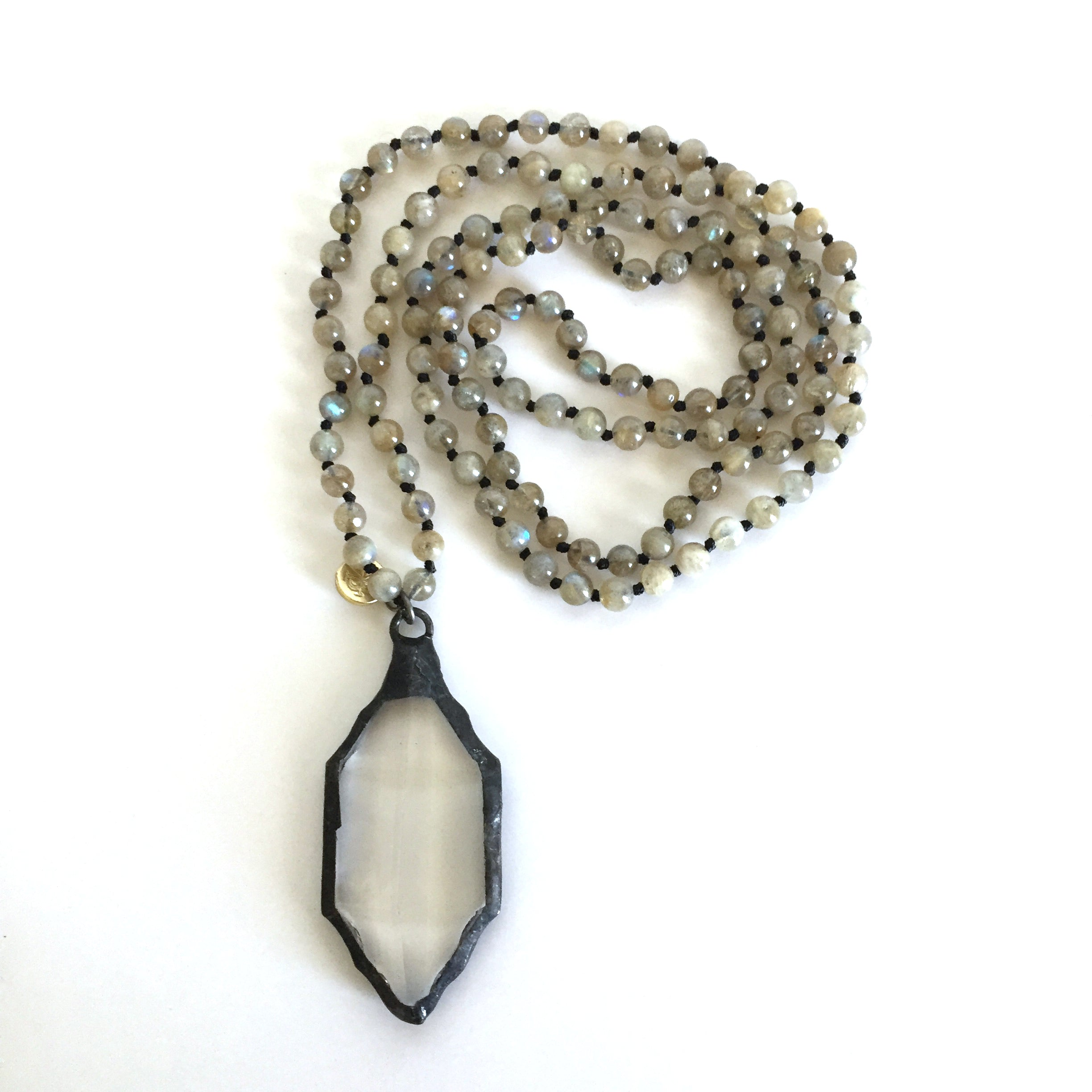 Labradorite and Crystal Long Necklace