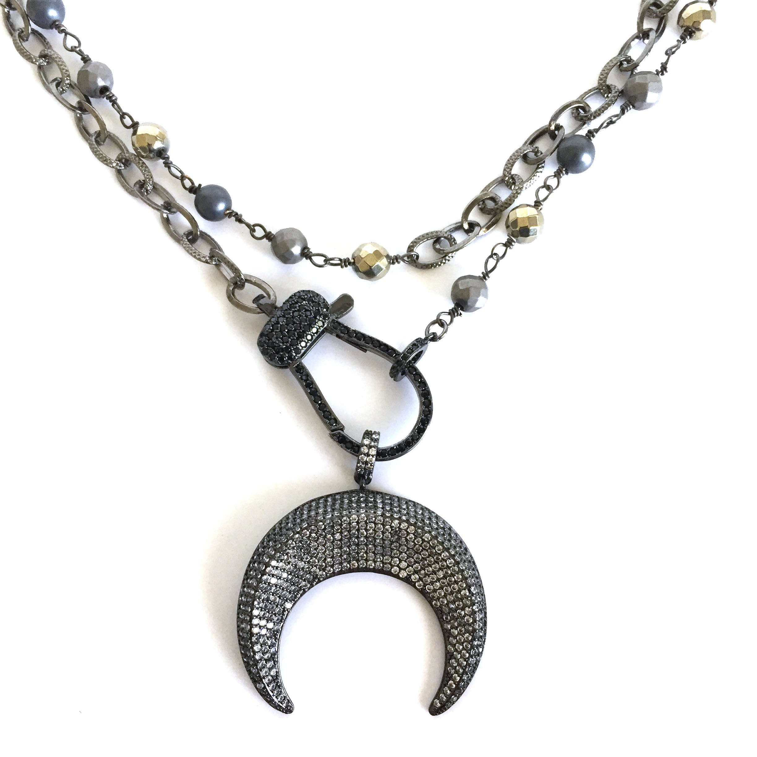 Pave Crescent Moon Necklace