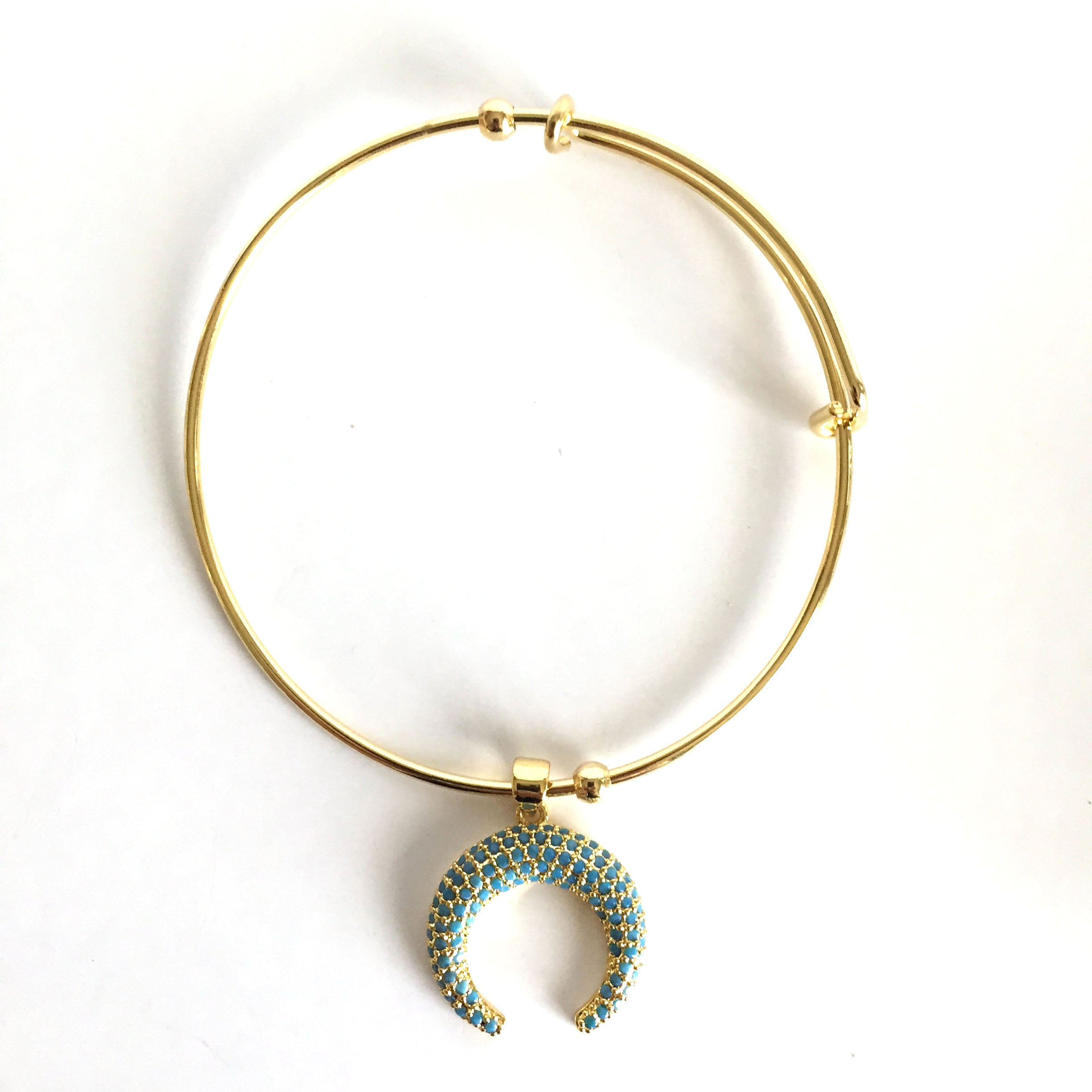 Adjustable Bangle with Pave Crescent