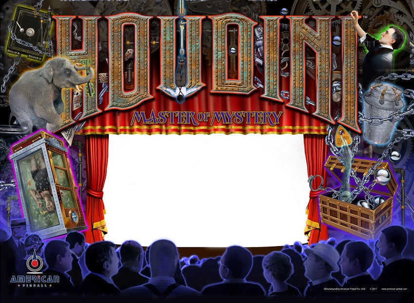 Houdini Pinball Screened BackGlass (GLS0002-00)
