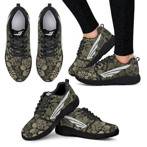 FLY Simple Shoes | Women's Flower Camo Black Trim Athletic Sneakers 3 Views