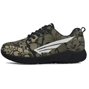 FLY Simple Shoes | Women's Flower Camo Black Trim Athletic Sneakers