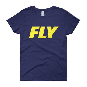 FLY Athletic Original Yellow Type logo short sleeve ladies T-Shirt
