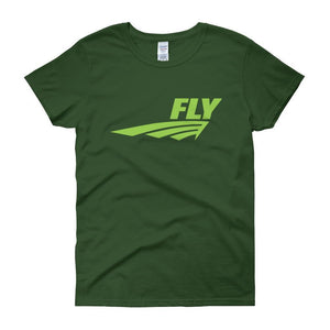 FLY Athletic Original Blue logo short sleeve ladies T-Shirt