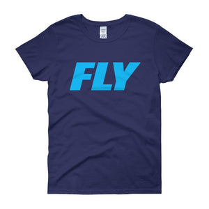 FLY Athletic Original Blue Type logo short sleeve ladies T-Shirt