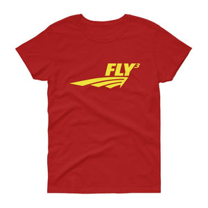 FLY³® Original Logo (Yellow) Ladies Short-Sleeve T-Shirt