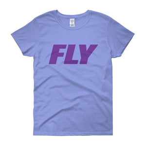 FLY Athletic Original Purple Type logo short sleeve ladies T-Shirt