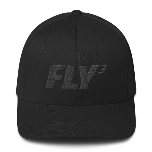FLY³® Original Logo 3D puff (Black) Men Flexfit Cap