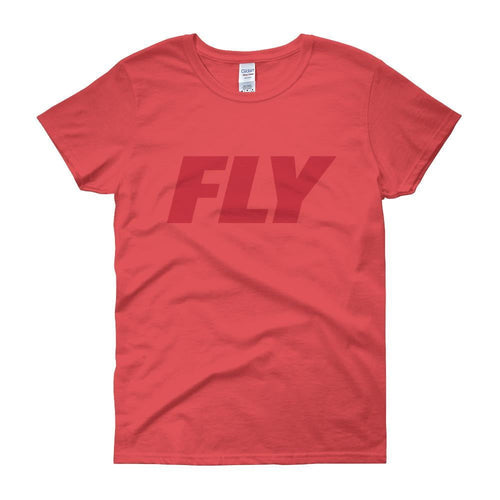 FLY Athletic Original Dark Red Type logo short sleeve ladies T-Shirt