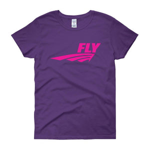 FLY Athletic Original Pink logo short sleeve ladies T-Shirt