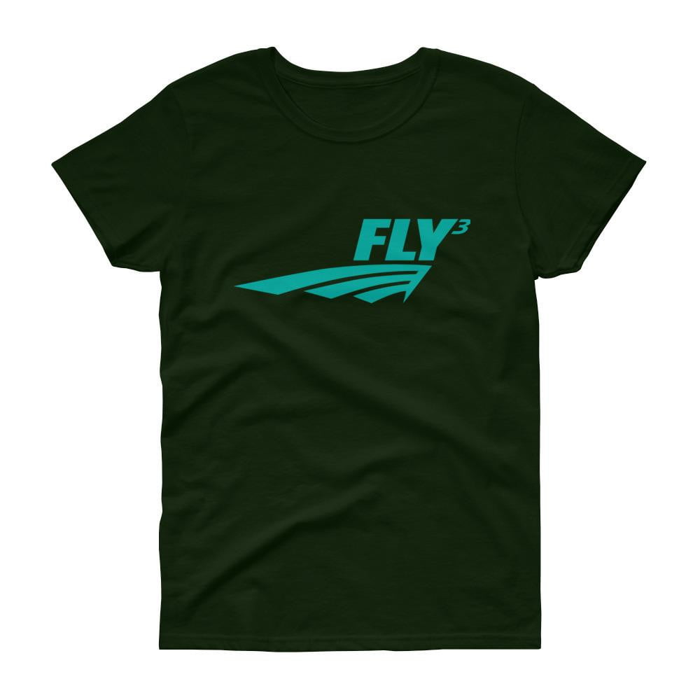 FLY³® Original Logo (Teal) Ladies Short-Sleeve T-Shirt