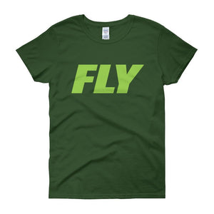 FLY Athletic Original Green Type logo short sleeve ladies T-Shirt