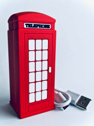 Red Telephone Booth Power Bank view from front
