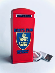 Red Telephone Booth Power Bank view of Brit's Pub Logo on back.