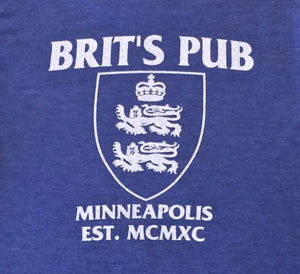 Brit's Pub Minneapolis Logo - printed on back of tee