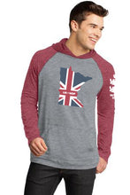 Minnesota Union Jack long sleeve vintage hooded tee with Brit's Pub logo on left sleeve.