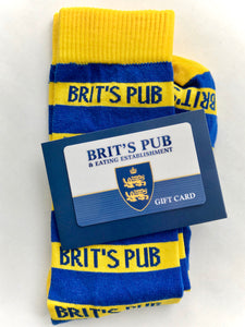 Brit's Pub Gift Card with a pair of Brit's Rugby Stripe socks.