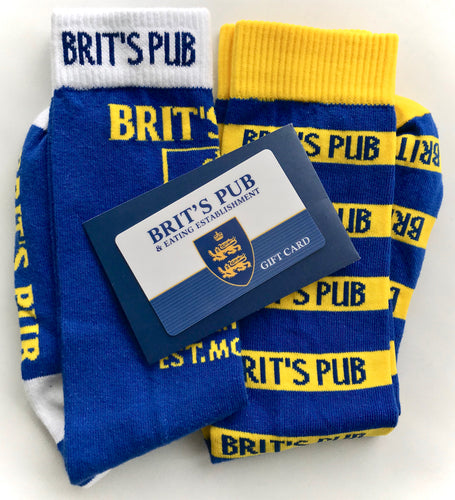 Brit's Pub Gift Card with 2 pair set of socks.