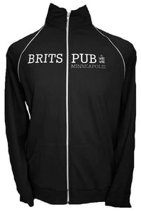 Black American Apparel track jacket with white twill and embroidery.