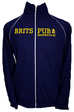 Navy American Apparel track jacket with gold twill and embroidery.