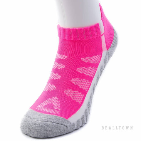 PEAK LOW CUT SOCKS W14902 LT.MELANGE GREY/FLUORESCENT ROSE