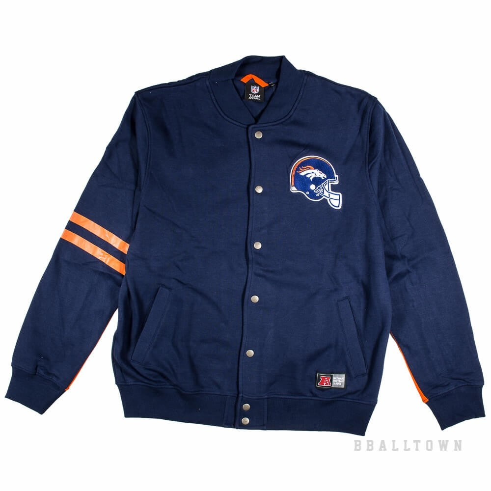 best loved 1b8ca 47b7a Majestic Emodin Fleece Letterman Jacket Navy Denver Broncos