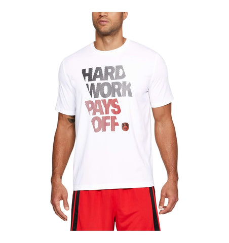 Under Armour Bball Hard Work Graphic T-Shirt White