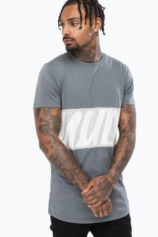 Just Hype T-Shirt - SCRIPT PANEL - Grey