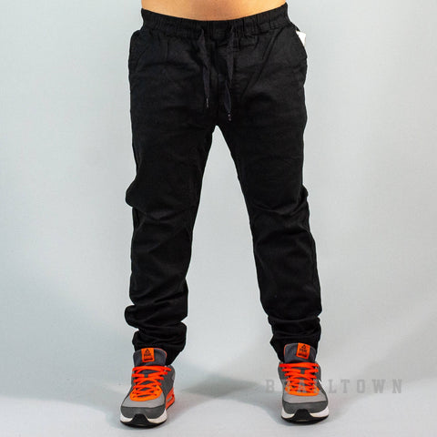 Southpole Stretch Twill Jogger Pants - Black