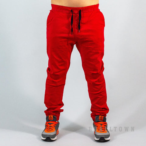 Southpole Stretch Twill Jogger Pants - Red