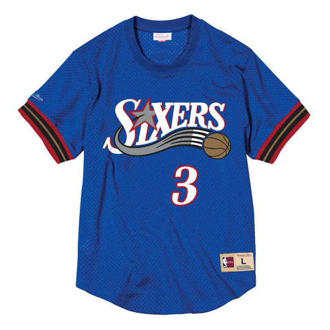Mitchell & Ness Name & Number Mesh Crew Neck Philadelphia 76Ers Allen Iverson Royal